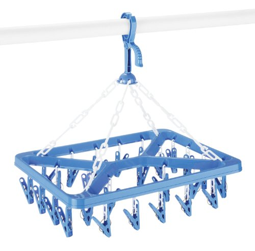 Whitmor Clip and Drip Hanger with 26 Clips Blue & White