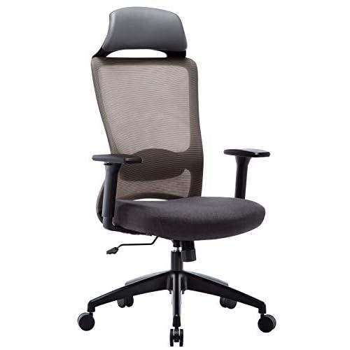 41FvZuBbORL. SS500 ✔ Respaldo Ergonómico: El diseño de malla hace que el respaldo de silla sea transpirable, es más conveniente para usar en verano. La silla ergonómica de oficina con soporte lumbar, reposabrazos ajustables y reposacabeza para hacerle disfrutar más después del trabajo. ✔ Asiento Transpirable: El asiento acolchado es grueso y tiene buena elasticidad. Hecho de esponja gruesa de alta calidad y malla transpirable. No hace que el cuerpo se siente caliente, mantenga sus nalgas y piernas libres de sudor. ✔ Múltiples Ajustes: Los controles neumáticos facilitan subir o bajar el asiento, a través de sacar el asa puede realizar el modo de giro, puede inclinar el respaldo conjunto con asiento por pequeño ángulo, los brazos de 3D son ajustables con la altura, además puede realizar el ajuste de poco ángulo de dirección paralela.