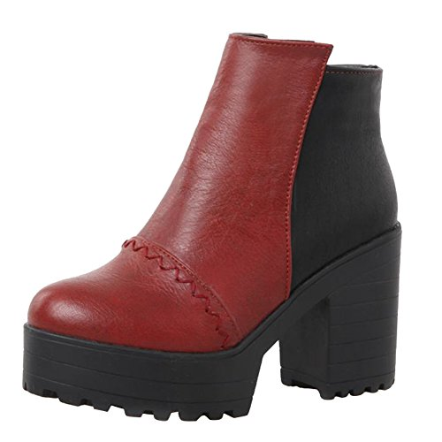 Martin High Women's Boots Red Concise Heel Platform Colors Carolbar Assorted qHaOwB0