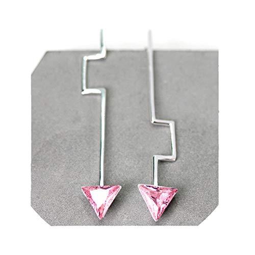 Natural Zirconia Handmade Fine Jewelry Minimalism Design Asymmetric Dangle Earrings (Onstar Earrings)