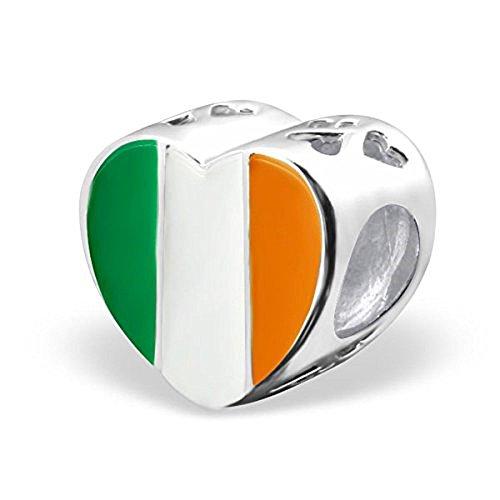 925 Solid Sterling Silver Irish Flag Heart Charm Bead - Irish Enamel Charm