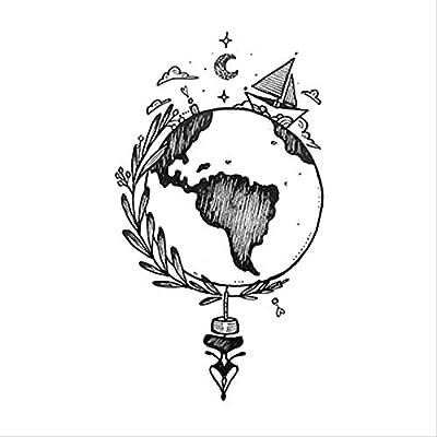 HJBSSR Earth Boat Luna Estrella Tatuaje Pegatina Impermeable ...