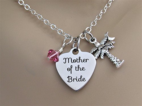 Mother of the Bride Stainless Steel Laser Engraved Heart Necklace With Silver Palm Tree Charm and Swarovski Crystal, Palmetto Moon Beach - Tree Swarovski Crystals Palm