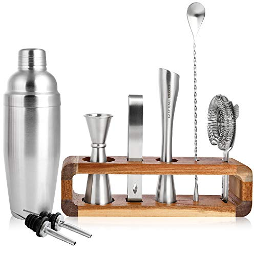 (LAST CALL Barware Modern 9 piece Bartender Kit | 100% Real Acacia Wood Stand | Top Grade Professional & Home Bar Set w/Authentic Bar Tools | Designed in Denver CO | Premium Brushed Stainless Steel)