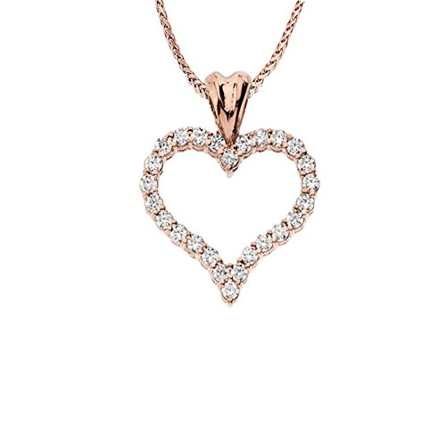 Gold Diamond Open Heart (Elegant 14k Open Heart Necklace with .50ct Diamond in Rose Gold, 20