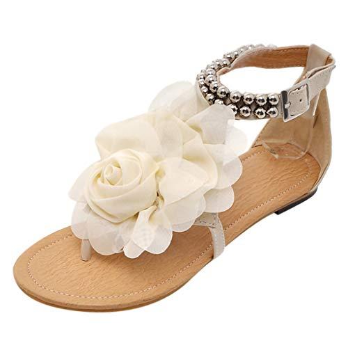 JJLIKER Women Flower Beaded Beach Flip Flops Ankle Buckle Strap Shoes Fashion Vacation Comfort Flat Sandals Beige