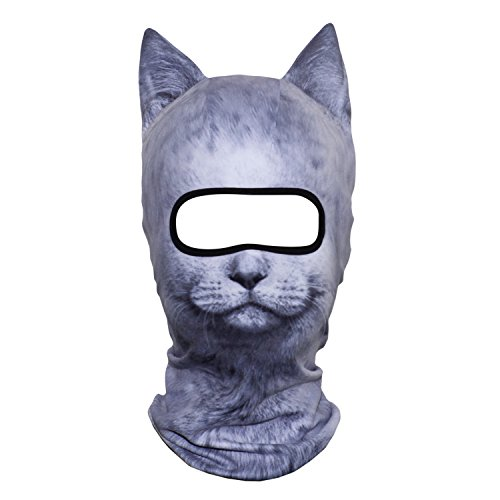 Price comparison product image AXBXCX 3D Animal Ears Fleece Thermal Neck Warmer Windproof Hood Cover Face Mask Protection for Ski Snowboard Snowmobile Halloween Winter Cold Weather British Shorthair