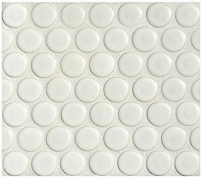 Penny Round Tile Arctic White Porcelain Mosaic Matte Look Marble Tiles Amazon Com