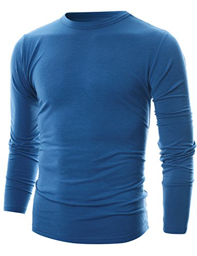 GIVON Mens Slim Fit Soft Cotton Long Sleeve Lightweight Thermal Crew Neck T-Shirt /DCP033-BLUE-2XL