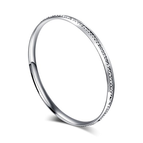 Womens Stainless Steel Bangle Bracelet Rhinestone Crystal Circle Round,,Width 6mm,8.7