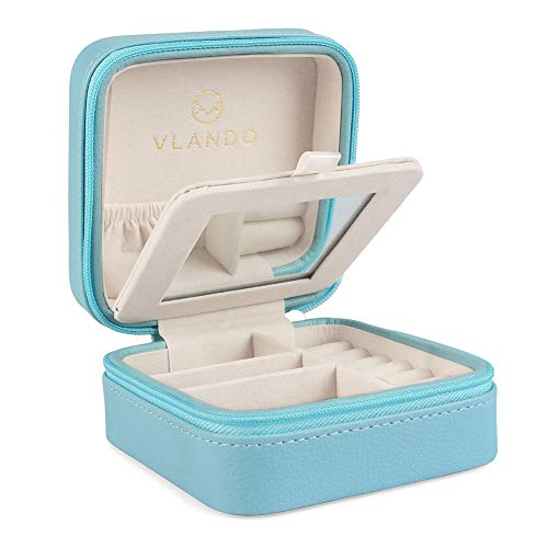 Vlando Macaron Small Jewelry Box, Travel Storage Case for Rings and Earrings (Blue)