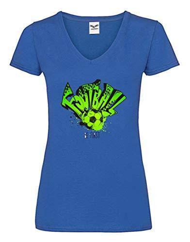 Druckerlebnis24 Camiseta V – Balón de fútbol Equipo Deporte – Camiseta para Mujer y Mujer con Cuello en V