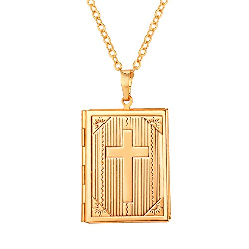 U7 Locket Necklace Charm 18K Gold Link Chain Cross Design Photo Locket Pendant That Hold Pictures, 22