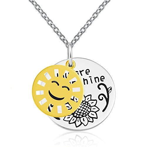 (JXJL Sunflower Necklace for Daughter Teenager Girl Kid 'You are My Sunshine' Pendant Necklace-Sterling Silver)