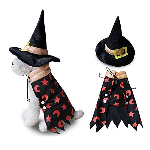 Dog Wizard Costume – Wizard Cloak with Hat Pet Costume, Halloween Costume Headwear Cosplay Accessories for Cats and…
