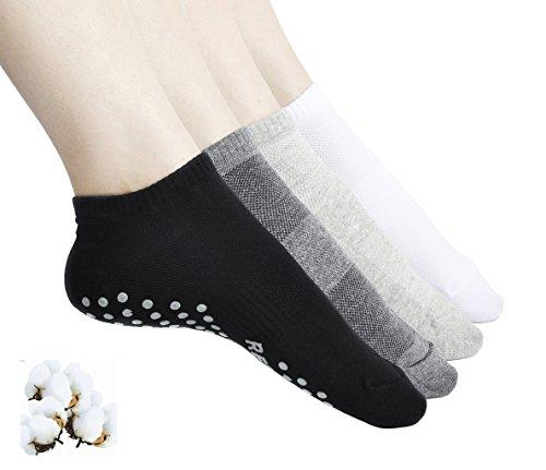 Aichatan Konater Womens Non Slip Skid Low Cut Casual Sport Yoga Short Cotton Socks 02 black+white+grey+darkgrey