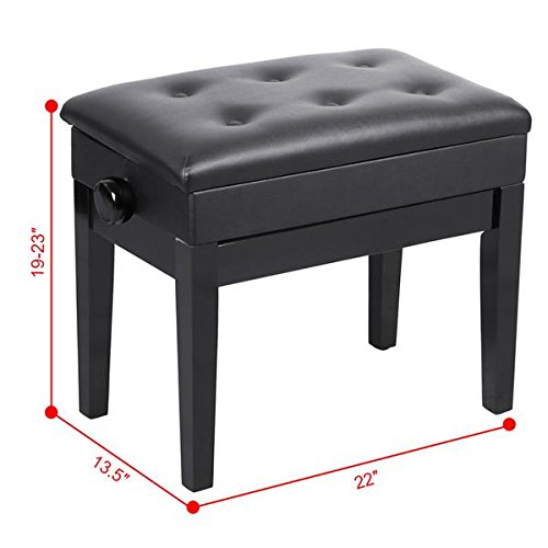 Yaheetech Black Adjustable Faux Leather Piano Bench Stool with Sheet Music Storage