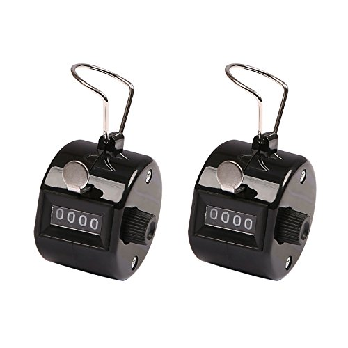 Number Race Game - HDE Handheld 4-Digit Number Counter Mechanical Tally Lap Tracker Manual Clicker - 2-Pack (Black)