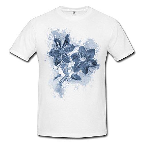 Blume V Herren T- Shirt , Stylisch aus Paul Sinus Aquarell Cyan