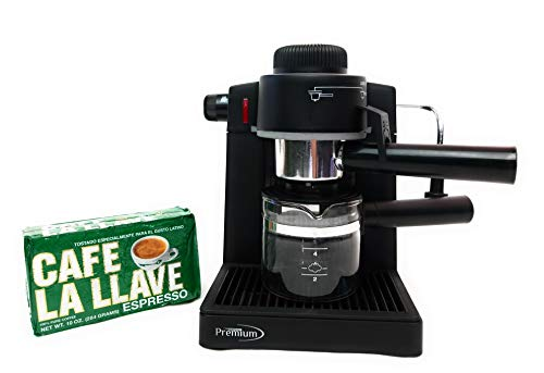 Premium Espresso Cappuccino Latte Coffee Machine. Bonus Pack of Espresso Roasted Coffee Cafe La Llave 10oz