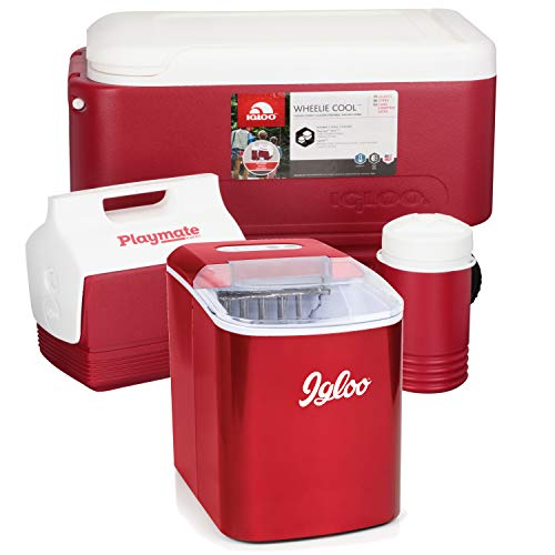 (Igloo 26 lb. Capacity Countertop Ice Maker, Retro Red with Wheelie Cool Cooler Combo 3 pc. Pack)