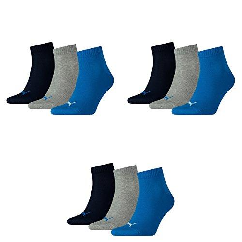 3 pair Puma Sport Socken Short Crew Tennis Socks Gr. 35 - 49 Unisex 277 - blue / grey mélange