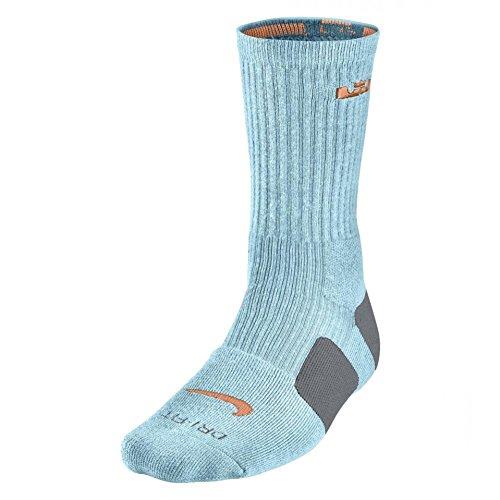 Nike Lebron Elite Basketball Crew Socks Medium (Glacier Ice/Atomic Orange) -