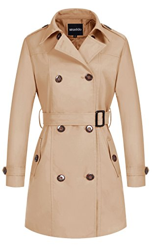 Wantdo Women's Double-Breasted Long Trench Coat with Belt(Khaki,Small)