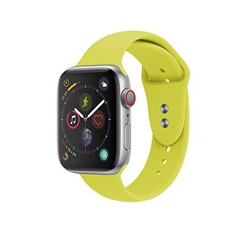 Sport Band Compatible with Apple Watch 38mm 40mm 42mm 44mm,Soft Silicone Strap Replacement Wristbands for Series 4 Series 3 Series 2 Series 1 Nike+ Sports and Edition (42mm S/M, Yellow) ()