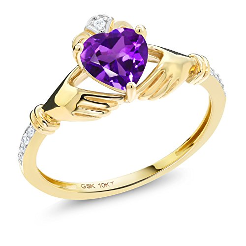 Gem Stone King 0.71 Ct Irish Celtic Claddagh Purple Amethyst Diamond Accent 10K Yellow Gold Ring (Size 9)