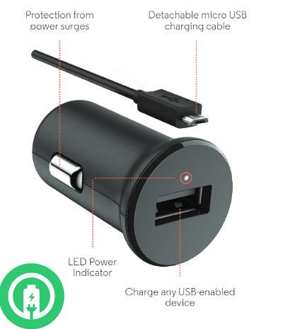 Turbo Fast Powered 15W GIGABYTE GSmart Aku A1 SmartPhone Car Charger with Detachable Hi-Power MicroUSB Cable!
