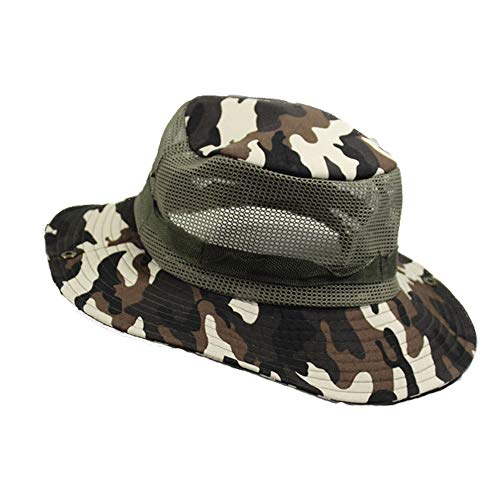 BMM - HATS CP Camouflage Jungle Round Hat Suitable for Outdoor/Sun Protection/Sunshade/Mountaineering/Fishing Benni Cap 56-58cm (Color : Brown ()
