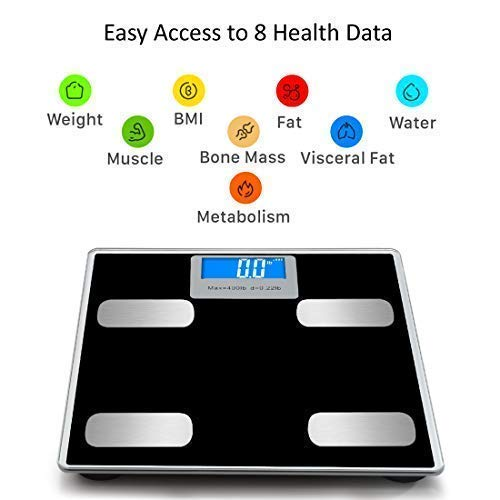 Weight Scale Bluetooth Body Fat Scales Digital Weight Smart Bathroom Scale with iOS &Android and APP Monitor Body Composition Weight, Body Fat, BMI, Water, Bone, Muscle and More 400lbs by Toye (Image #3)