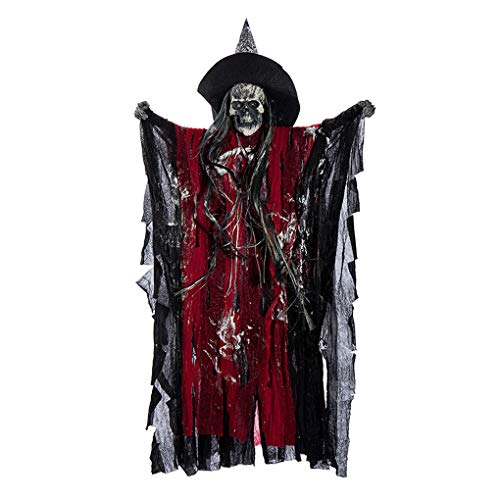 Bartz Ghost Halloween Decorations, Animated Hanging Grim Reaper With Voice Activated Scary and Flashing Eyes Creepy for Halloween Party Haunted House KTV Bar Decorations  ()
