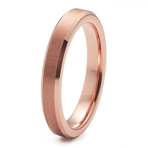 (NaNa Chic Jewelry 3mm Matte Finish Tungsten Carbide Ring Rose Gold Plated Wedding Band Beveled)