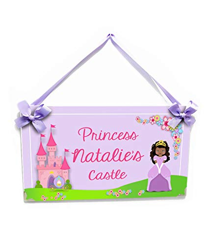 Princess Castle Plaque Door Playroom or Bedroom Name Sign - Personalized Princess Plaque