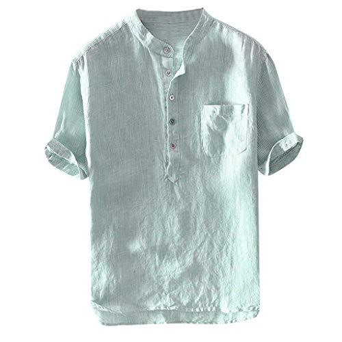 Men Shirts Breathable Cotton Linen Short Sleeve Button up Pocket T Shirt Blouse Mens Comfy Solid Color Tunic - Button Valentine