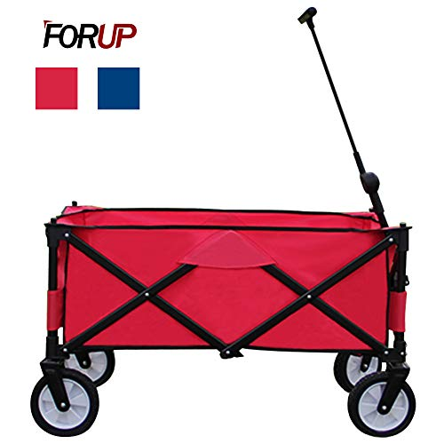 (FORUP Collapsible Folding Outdoor Utility Wagon Cart (Red))