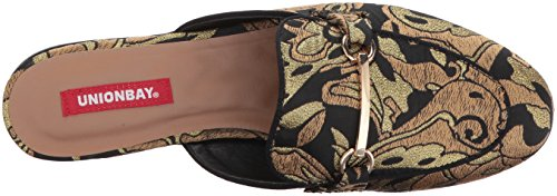 Uniebay Womens Solo Mule Black / Gold Brokaat