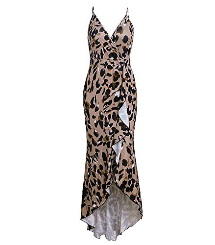 YSJERA Women's Vintage Summer Deep V-Neck Sleeveless Floral Leopard Ruffles Mermaid Halter Midi Dresses (Leopard Coffee,S)