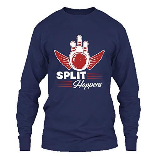 Bowling Tshirt Design - Split Happens Bowling T Shirt Long Sleeve (Bowling T-shirt Designs)