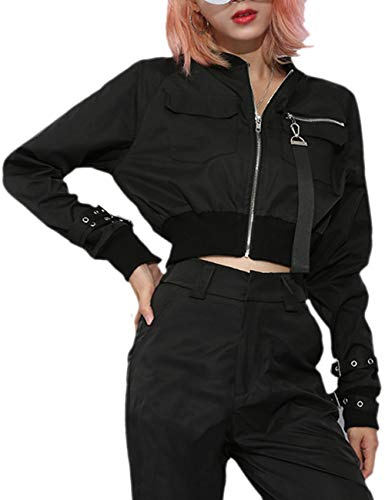 XXXITICAT Women's Chic Fashion Stand Collar Shorts Aviator Coats Windbreaker Long Sleeve Cropped Motorcycle Bomber Jackets(BL,L) Black