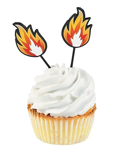 (Fun Express Fire Cupcake Food Picks - 25)