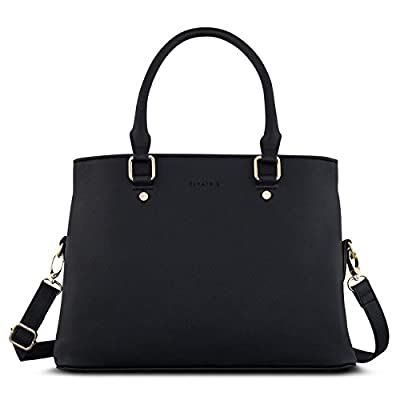 "Handbag Women Black - Expatrié ""Julie"" Womens Satchel Bag made from Vegan Leather - Small PU Leather Shoulder Tote Purse Bag with top Handle - Fashionable Saffiano Look Bag with many Compartments"