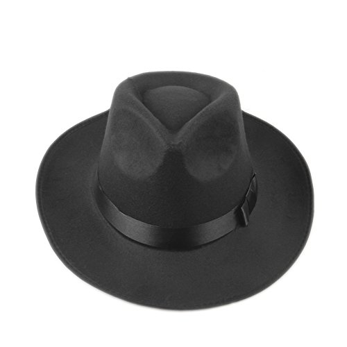 Elee Vintage Style Men Women Hard Felt Hat Wide Brim Fedora Trilby Panama Hat Gangster Cap -