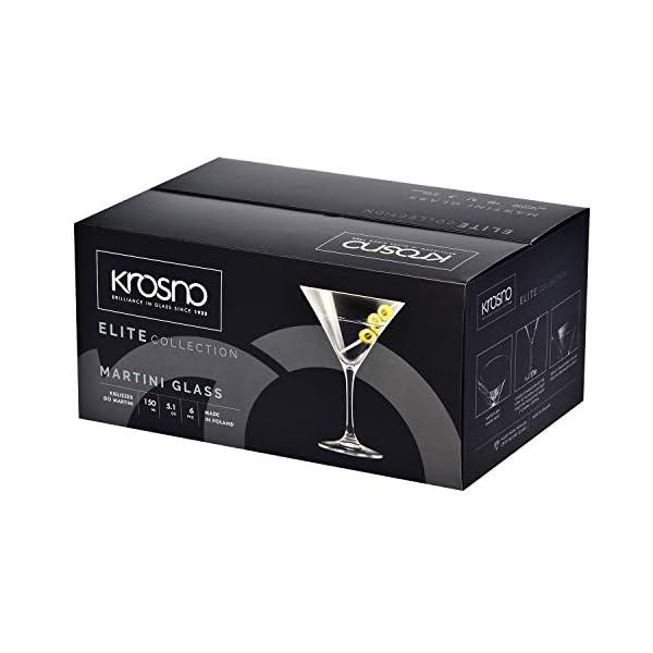 Krosno Bicchieri Cocktail Martini Bar Vetro Coppa | Set di 6 | 150 ML | Elite Collection | Ideale per la casa… 4 spesavip
