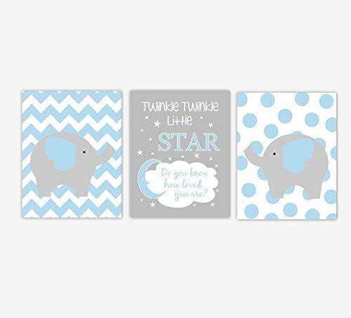 Amazon.com: Baby Boy Nursery Art Blue Elephant Twinkle ...
