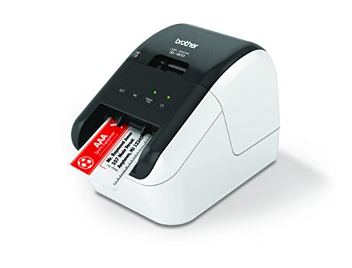 Brother QL-800 High-Speed Professional Label Printer, Lightning Quick Printing, Plug & Label Feature, Brother Genuine DK Pre-Sized Labels, Multi-System Compatible  Black & Red Printing Available