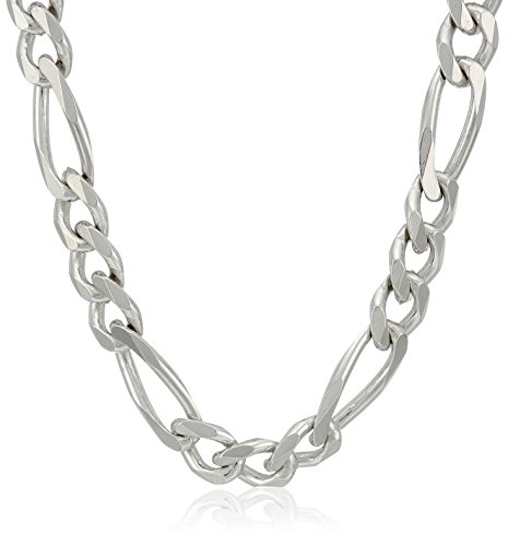 Amazon CollectionMen's Sterling Silver Italian 5.5mm Solid Figaro Link Chain Necklace, 22'