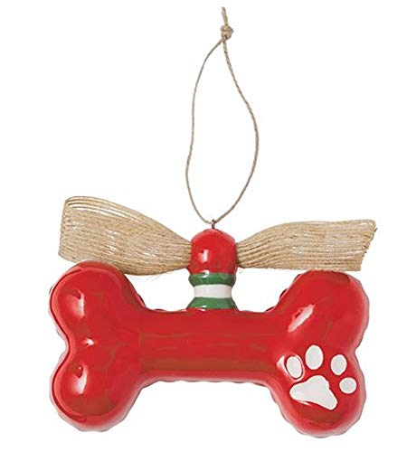Mudd Pie Dog Bone Ceramic Hanging Ornament (Red with White Paw)
